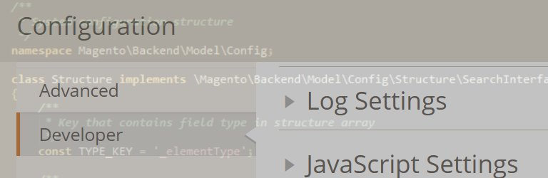 configuration manager magento 2 with faded code snippet on top - dull comes to mind but it gets the job done