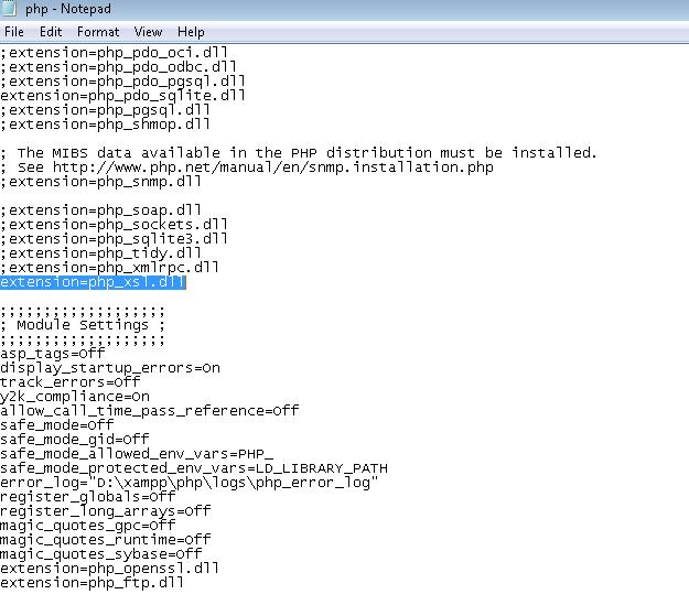 extension=php_xsl.dll