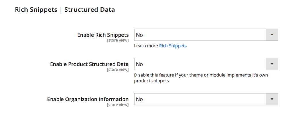 rich snippet configuration