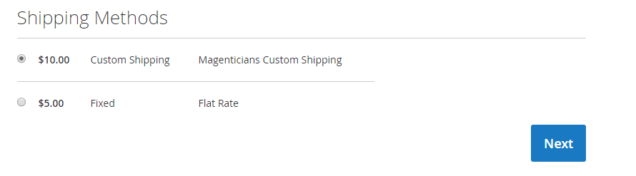 Select Custom shipping method