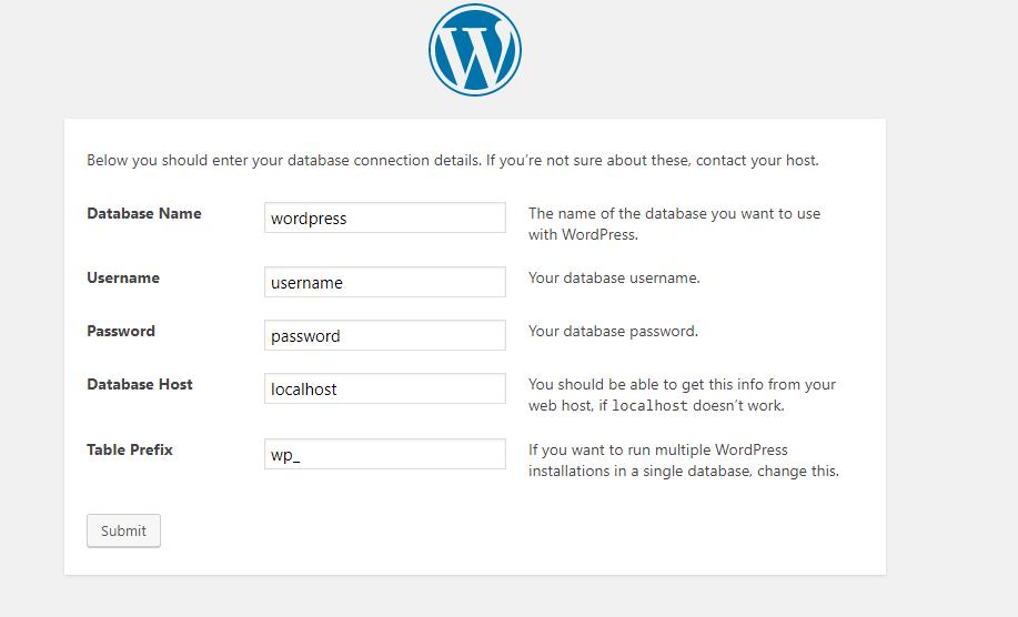 wp database details