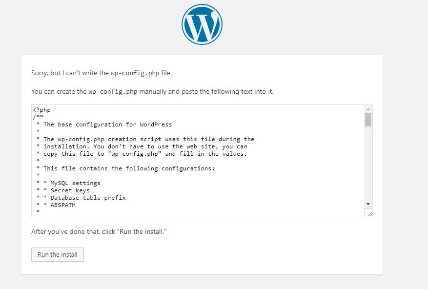 wp install error