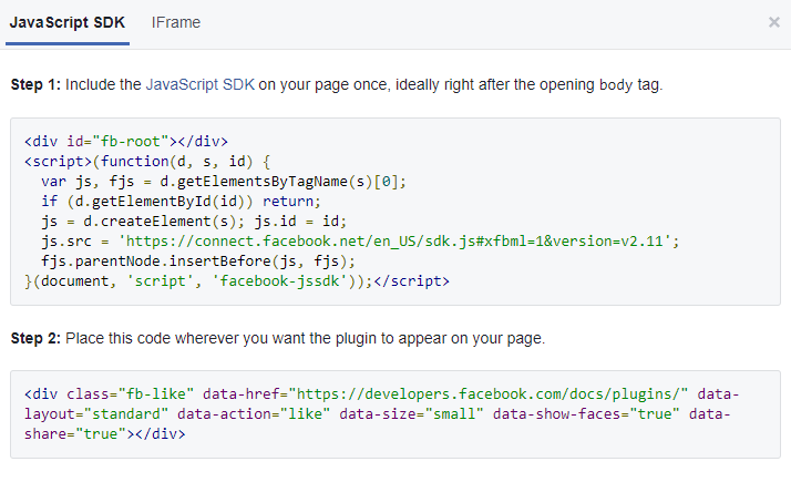 fb button code