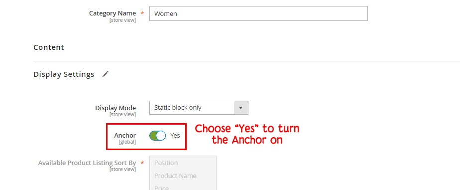 category as anchor