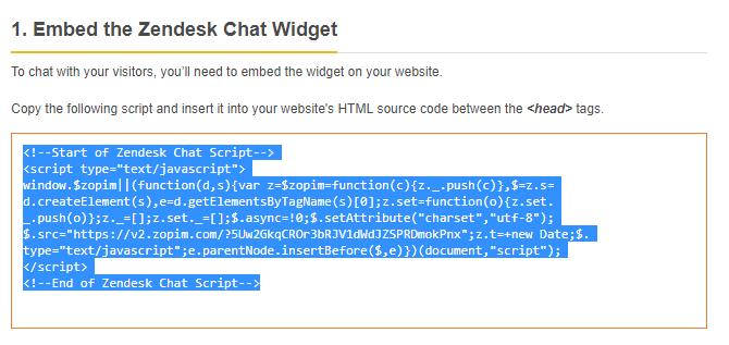 copy the zopim chat code