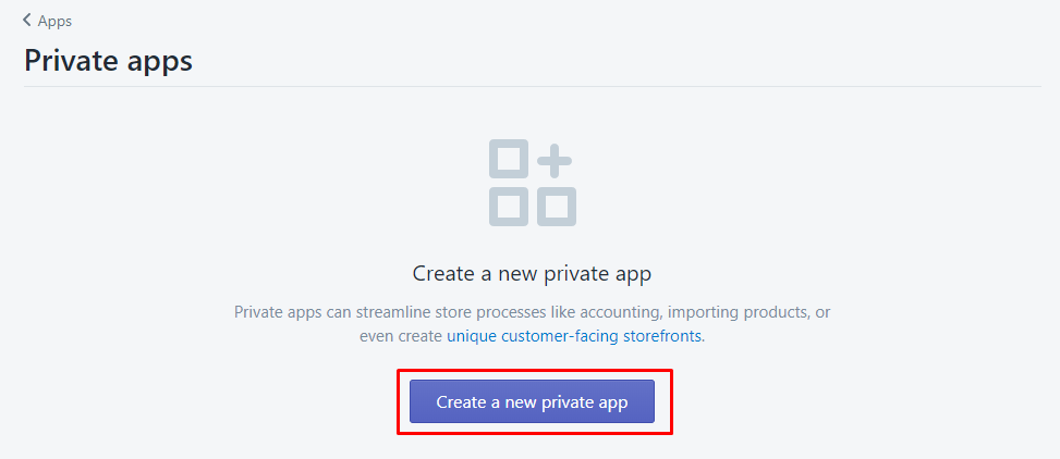 create new private app
