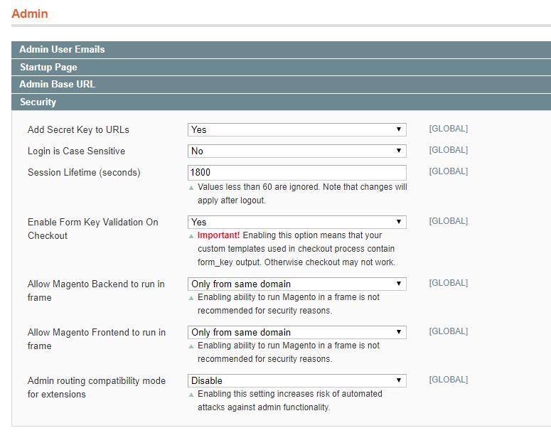 Configure proper admin settings