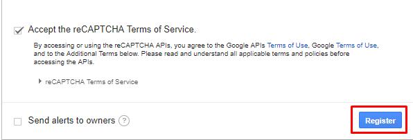 register google recaptcha