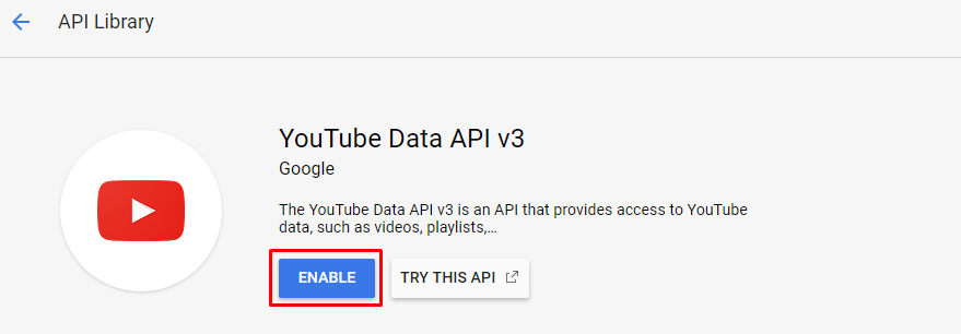 Enable YouTube Data API