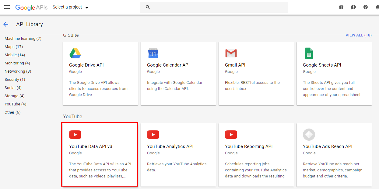 YouTube Data API