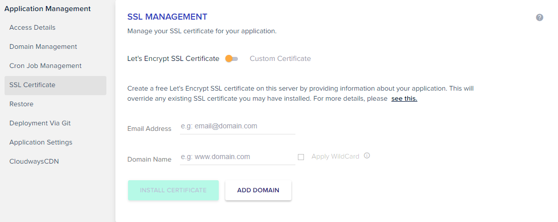 add email domain ssl cloudways