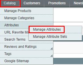 catalog-manage attributes magento 1