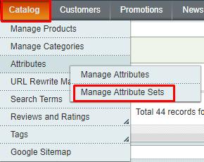 catalog-manage attributes set magento 1
