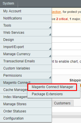 click on Magento connect manager