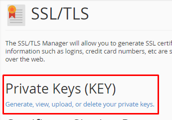 click on pvt keys shared host
