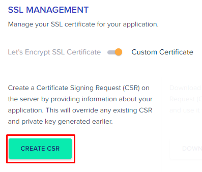 create CSR Cloudways