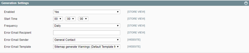 generation settings sitemap magento 1