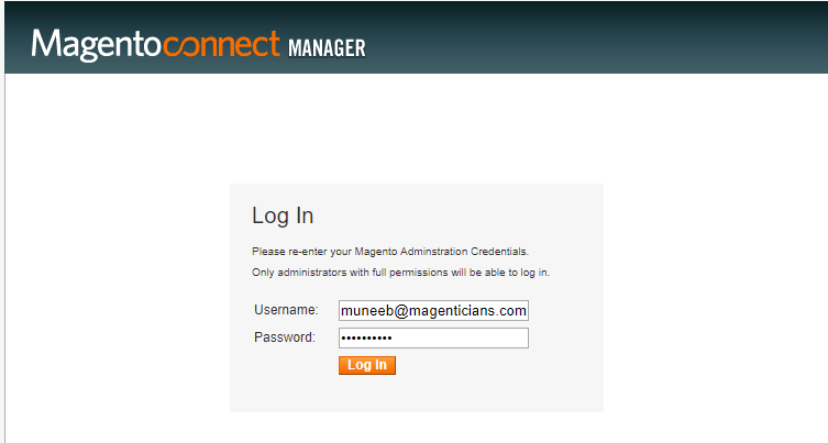 login magento connect manager m1