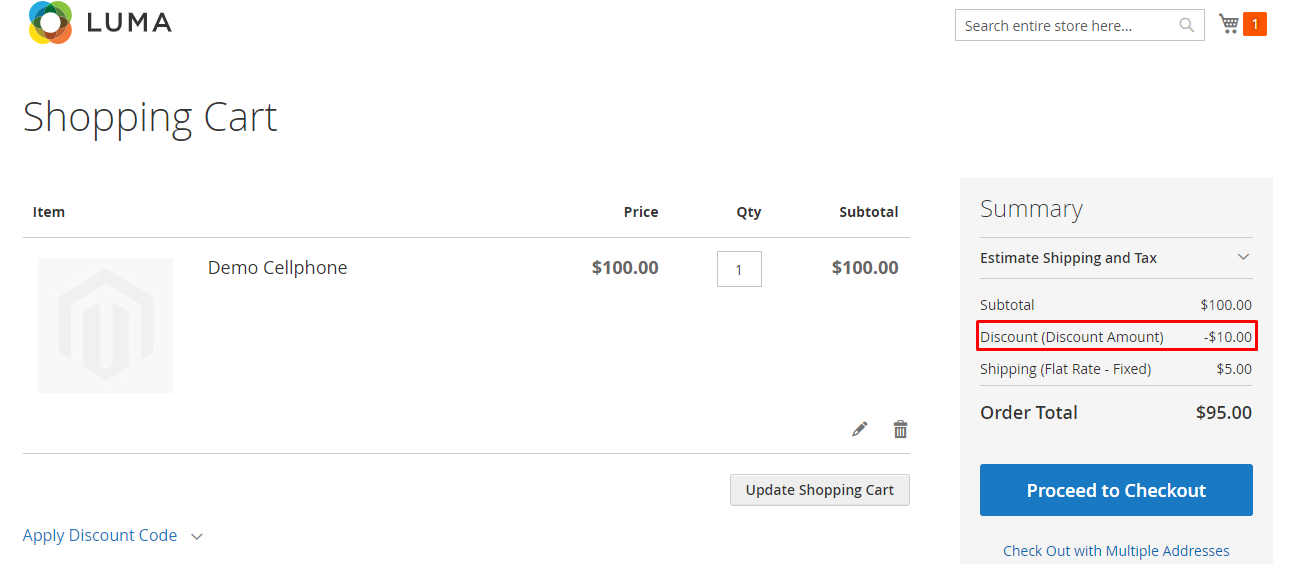 result magento 2 shopping cart price rule